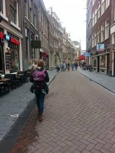 Grace wearing the osprey backpack in Amsterdam