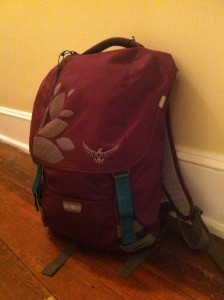 Grace's packed backpack