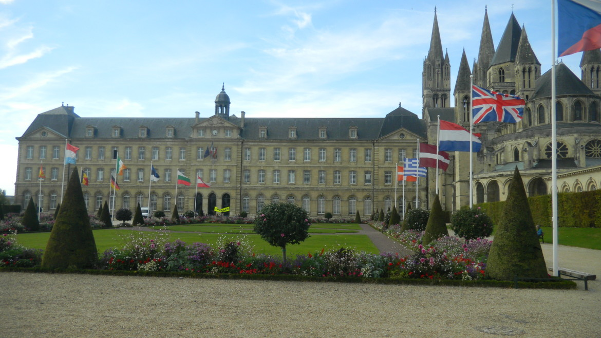 Caen's Hotel de Ville with international flags